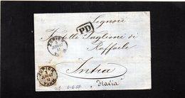 CG24 - Lettera Da Zurigo X Intra (IT) 3/6/1867+ PD Nero In Riquadro - Storia Postale