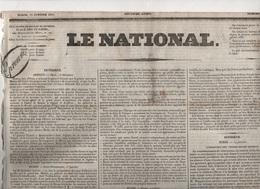 LE NATIONAL 18 01 1831 - ORAN ALGERIE - POLOGNE - BERNE - CASSEL - FRANCFORT - TURQUIE - NIMES - RENNES - NANTIAT - BALE - Zeitungen