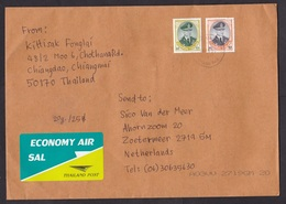 Thailand: Economy Air Cover Chiang Dao To Netherlands, 2 Stamps, King, Uncommon SAL Label (right Stamp Damaged) - Thaïlande
