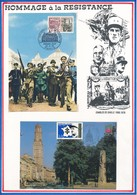 FRANCE - 2 CARTES 20EME ANNIVERSAIRE DE LA LIBERATION OBLITERATION 22.08.1964 PARIS + MARECHAL LECLERC 29.11.1997 AMIENS - Guerre Mondiale (Seconde)