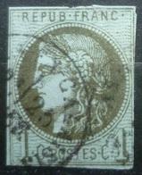 BORDEAUX N°39 B 1c Olive Oblitéré Cachet à Date Cote 200 Euro - 1870 Emission De Bordeaux