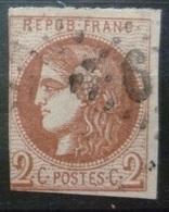 RARE BORDEAUX N°40 B 2c Brun-Rouge Oblitéré Losange GC & PERCE EN LIGNES Cote 1 700 Euro - 1870 Ausgabe Bordeaux