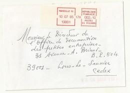 VIGNETTE AFFRANCHISSEMENT  MARSEILLE 10/07/1985 SUR ENVELOPPE  ENTIERE. - 1985 Papier «Carrier»
