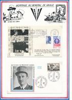 FRANCE - 2 ENVELOPPES  OBLITERATION LIBERATION ALENCON 12.08.1984 / MARECHAL LECLERC DE HAUTECLOCQUE 4.12.77 AMIENS - Guerre Mondiale (Seconde)