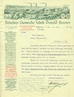 """Döbeln Sachsen Rechnung 1912 Deko """" Oswald Greiner - Döbelner Chemische Fabrik, Dachpappe Salmiak Carbol Kitt Klebstoff"""" - Droguerie & Parfumerie"""