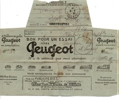TELEGRAMME DE AUDINCOURT DOUBS PUBLICITE VOITURES ET MOTOS PEUGEOT 1924 - 1921-1960: Modern Period