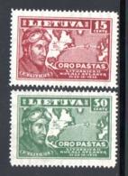 SERIE 1936 - POSTE AERIENNE NEUFS SANS GOMME YT 90 Et 91 - Lithuania