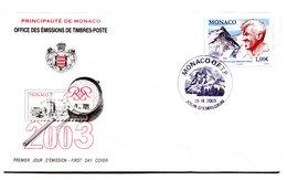 RC 16226 MONACO 2003 EVEREST PAR EDMUND HILLARY FDC 1er JOUR TB - FDC