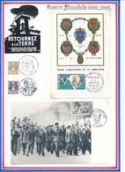 FRANCE - CARTES OBLI COMPAGNONS DE LA LIBERATION 15.06.74 +DE KOUFRA A STRASBOURG ANNIV MORT Mal LECLERC 06.12.87 AMIENS - Guerre Mondiale (Seconde)