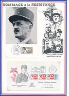 FRANCE - CARTE OBLI EXPO LECLERC 3/4.12.88 ECOUCHE + ENVELOPPE  GNL DELESTRAINT BOURG EN BRESSE 2.08.71 - Guerre Mondiale (Seconde)