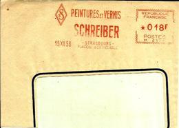 Lettre Flamme EMA Havas M  Peintures Et Vernis Schreiber 88 Strasbourg C9/10 - Marcophilie (Lettres)