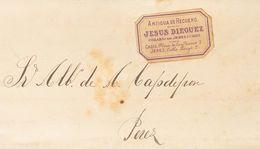 1881. CADIZ A JEREZ DE LA FRONTERA. Etiqueta ANTIGUA DE RECUERO / JESUS DIEGUEZ / COSARIO DE JEREZ Y CADIZ, En Violeta.  - Espagne