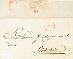 """1850. LAS PALMAS A PUERTO DE OROTAVA. Marca De Porteo """"3.C."""", En Rojo Y Al Dorso Numeral """"12"""", Que Indica La Oficina De  - Espagne"""