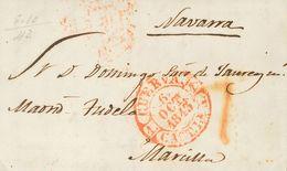 1843. MENASALBAS (TOLEDO) A MARCILLA. Baeza CUERVA / CAST. LA N., En Rojo. MAGNIFICA Y MUY RARA. - Espagne