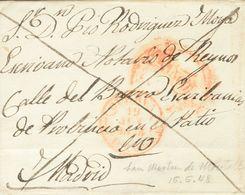1848. SAN MARTIN DE MONTALBAN (TOLEDO) A MADRID. Baeza CUERVA / CAST. LA N. Y Marca FRANCO, En Rojo Aplicada A La Llegad - Espagne