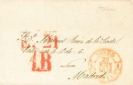 1851. FUENSALIDA (TOLEDO) A MADRID. Baeza NOVES / CAST. LA N., En Rojo. MAGNIFICA Y RARA. - Espagne