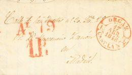 1848. ORGAZ A MADRID. Baeza ORGAZ / CAST. LA N., En Rojo. MAGNIFICA ESTAMPACION. - Espagne