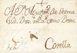 1737. AGREDA A CORELLA. Marca SORIA, En Tinta De Escribir De Agreda (P.E.2) Edición 2004. MAGNIFICA Y MUY RARA. - Espagne