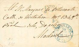 1845. SEPULVEDA (SEGOVIA) A MADRID. Baeza CASTILLEJO / CAST. LA N., En Azul. MAGNIFICA ESTAMPACION Y MUY RARA. - Sin Clasificación