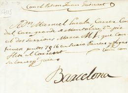 """1831. BARCELONA A SITGES. Circulada Fuera De Valija Con Anotación Manuscrita """"En Manos Propias"""". MAGNIFICA Y RARA. - Espagne"""