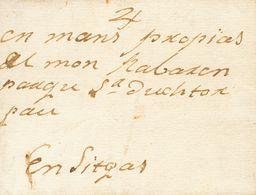 """1839. REUS A BARCELONA. Circulada Fuera De Valija Con Indicación Manuscrita """"Con El Patrón Juan Guinart"""". MAGNIFICA Y RA - Espagne"""