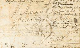 (1736ca). Dirigida A BARCELONA. Marca + / CATALVÑA (cuyo Origen No Hemos Podido Determinar) Y De Los Recaderos Catalanes - Espagne