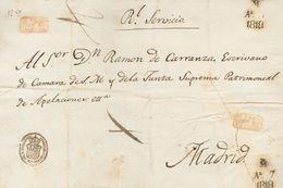 1818. Plica De VALENCIA A MADRID. Marcas ADMINISTRACION GENERAL DE PATRIMONIO Y SE FRAN / QUEO EN / VALENCIA, En Rojo (P - Sin Clasificación