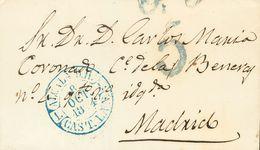 1844. ALCALA DE HENARES (MADRID) A MADRID. Baeza ALCALA D. H. / CAST. LA N., En Azul. MAGNIFICA Y RARA. - Espagne