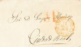 1850. BUITRAGO DE LOZOYA (MADRID) A CIUDAD REAL. Baeza BUITRAGO / CAST. LA N., En Rojo. MAGNIFICA ESTAMPACION. - Espagne
