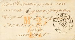 1852. COLMENAR VIEJO A MADRID. Baeza COLMR. VIEJO / CAST. LA N., En Negro. MAGNIFICA Y RARISIMA. - Espagne