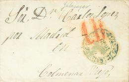 1849. COLMENAREJO A COLMENAR VIEJO. Baeza GALAPAGAR / CAST. LA N., En Azul. MAGNIFICA Y MUY RARA. - Sin Clasificación