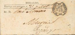 "1844. Faja Del Periódico ""Heraldo"" De MADRID A MURCIA. Fechador MADRID / FRANCO, En Negro (P.E.29) Edición 2004. MAGNIFI - Espagne"
