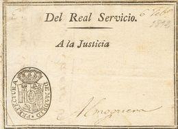 1812. MADRID A ALMOGUERA (GUADALAJARA). Envuelta Preimpresa Del REAL SERVICIO Y Marca Del Correo Real PREFECTURA DE MADR - Espagne