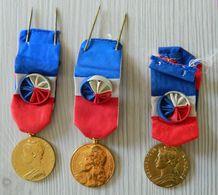 Lot 3 Médailles Industrie Travail Commerce Et Sécurité Sociale Dans 2 écrins - A. BORREL - Or Argent ?? - Marianne - France