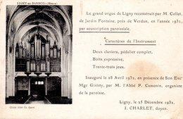 LIGNY EN BARROIS  -  Le Grand Orgue De Ligny Reconstruit Par M. Collet, De Jardin Fontaine... - Ligny En Barrois