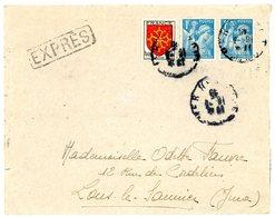 VAR ENV 1945 TOULON SUR MER LETTRE EXPRES VERSO LONS LE SAUNIER - Marcophilie (Lettres)