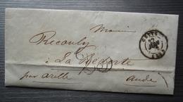 Cette 1852 Lettre Sans Timbre Et Taxée 25, Pour La Redorte, Par Azille (Aude) - Storia Postale