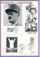FRANCE - CARTE GNL LECLERC 6.12.87 AMIENS + ENVELOPPE  2E GUERRE MONDIALE EXPOSITION 03.05.85 LAON - Guerre Mondiale (Seconde)