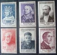 SERIE PERSONNAGES CELEBRES De 1954 (PAUL VALERY) N°989 à 994 NEUF** / * Cote 110 Euro - France