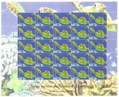 Polynésie Française Année 2013 Timbre 1032 Feuille Feuillet Faune Marine Journée Mondiale De L'océan Tortue - Polynésie Française
