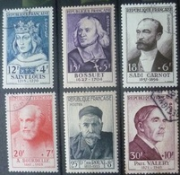 SERIE PERSONNAGES CELEBRES De 1954 (PAUL VALERY) N°989 à 994 Oblitéré Cote 186 Euro - France