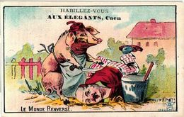 4 Trade Cards Dressed Animals The World Upside Down C1900 Anthropomorphic Litho Humanised Dressed Animals Humour  RARE - Other