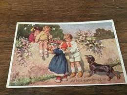 Karl Feiertag Enfants Sur Un Muret Panier Fleurs Teckel Chien Bassotto Dashung - Feiertag, Karl