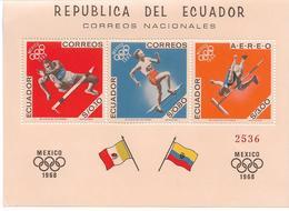 EQUATEUR BLOCS FEUILLETS JEUX OLYMPIQUES DE MEXICO 1968 - Zomer 1968: Mexico-City