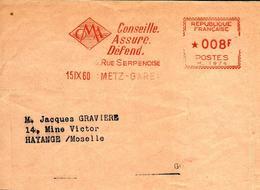 Lettre Flamme EMA Havas M 1974   Oma Conseille Assure Defend Metier 57 Metz C9/43 - EMA (Empreintes Machines à Affranchir)