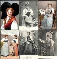 Lot 6 Cartes Femmes Coiffe France Suisse...Schwyz Guggenheim - Costumes