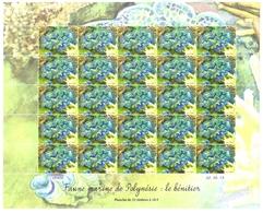 Polynésie Française Année 2013 Timbre 1030 Feuille Feuillet Faune Marine Journée Mondiale De L'océan Bénitier - Polynésie Française
