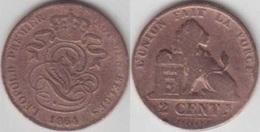 LOT N° 009 *LEOPOLD Ier_ 2 CENTIMES CUIVRE_1864  SUR 1861 * - 1831-1865: Leopold I