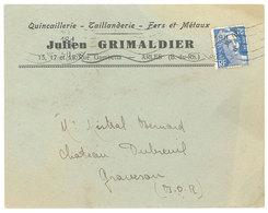 Enveloppe Quincaillerie Taillanderie Fers Et Métaux Julien Grimaldi, Rue Gambetta, Arles - Publicités