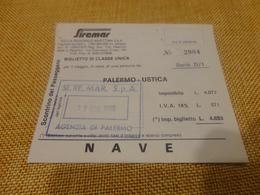 BIGLIETTO SIREMAR TRATTA PALERMO-USTICA-1980 - Schiffstickets